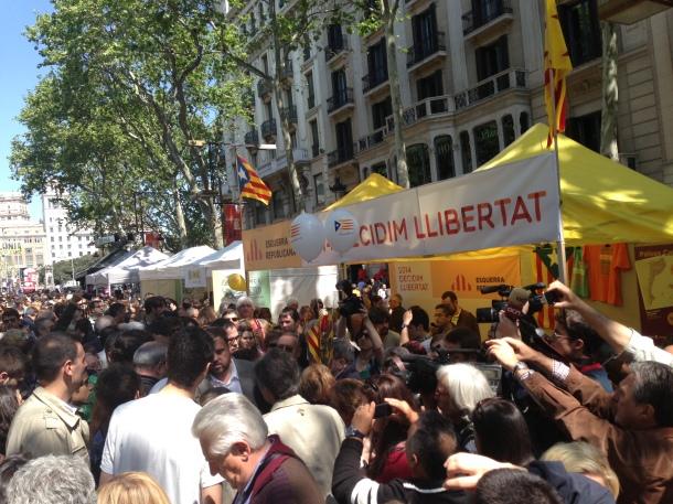 La Rambla during the Festival of Sant Jordi